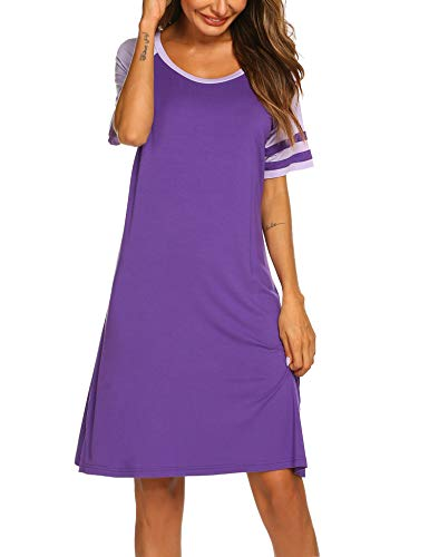 Hotouch Women's Nightgown Cotton Sleep Shirt O Neck Short Sleeve Loose Comfy Pajama Dress Purple S