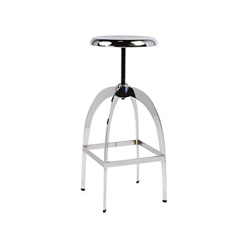 Modern Metallic Bar Stool - Kate and Laurel Tomi High Shine Chrome Backless Metal Bar Stool with 30 inch High Adjustable Height Seat
