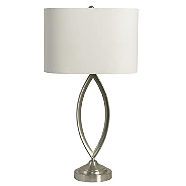 Decor Therapy Silver/White Brushed Steel Table Lamp, Made of Metal, Steel | Soft and Relaxing Look