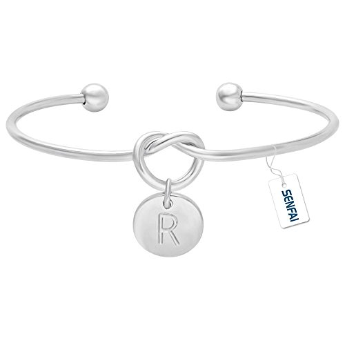 SENFAI Tie the Knot Single Initial Alphabet Letters Personalized Charms Bracelet Bangle Monogram Rhodium Plated (R3) - Monogram Letter Charm