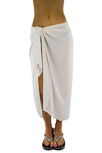 Luxury Divas White Full Ankle Length Sarong Sheer Bathing Wrap