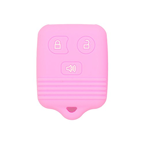 SEGADEN Silicone Cover Protector Case Skin Jacket fit for FORD LINCOLN MAZDA MERCURY 3 Button Remote Key Fobs FCC CWTWB1U345 CWTWB1U331 GQ43VT11T CV2715 Pink