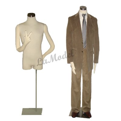 Male Half Body Dress Form Mannequin with Bendable Arms
