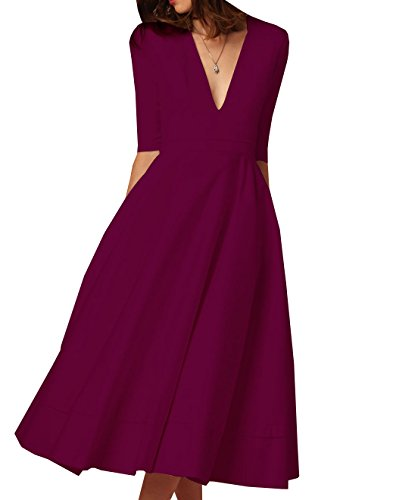 Midi 2 Femme Vin Col Simple 1 Robe lgante V Cocktail Manches de Robes Swing Rouge Fashion Vintage Soire ZnSqRg
