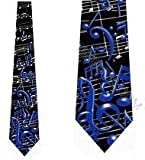 Men's Black & Blue Musical Notes Music Three Rooker Necktie Tie Neckwear