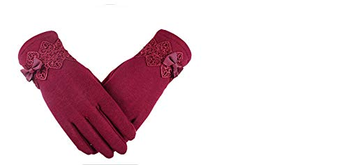 - Women Gloves Winter Lace Bow Gloves guantes Touch Screen Mittens Wool Glove,Red