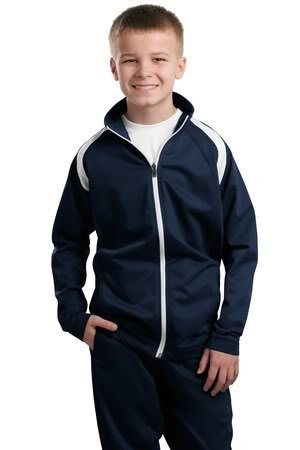Sport-Tek Youth Tricot Track Jacket, True Navy/White, M