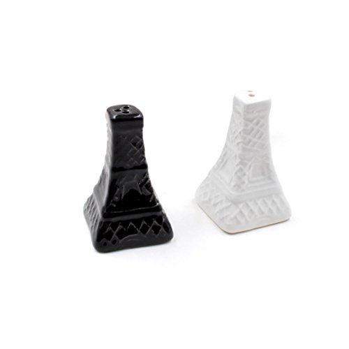 BESTONZON 2PCS Eiffel Tower Salt Pepper Shaker Ceramic Spice Sauces Jar Condiment Bottles Wedding Souvenirs (Black and White) ()