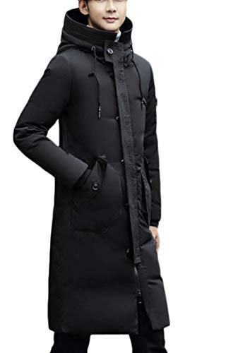 Men's EKU Thick Jacket Hooded Warm Slim Black Winter Long Fit Quilted Padded Down AYxYdTr