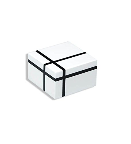 Pacific Connections Hand Crafted Lacquered Box- Certified Piet Mondrian Design- Composition in White and Black (1934) Small (5