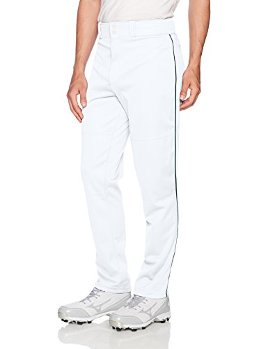 Wilson Men's Classic Relaxed Fit Piped Baseball Pant, White/Dark Green, ()