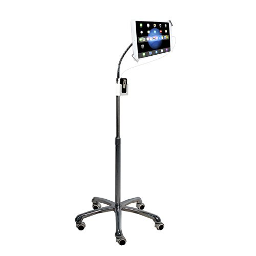 CTA Digital PAD-SHFS Heavy-Duty Height-Adjustable Rotating Tablet Floor Stand with Security, Gooseneck and Locking Wheels- 7-13 Inch Tablets -