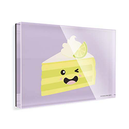 Acrylic Fridge Magnet Key Lime Pie Slice Cute, Japanese Kawaii Food with Face NEONBLOND - Key Lime Pie Slice