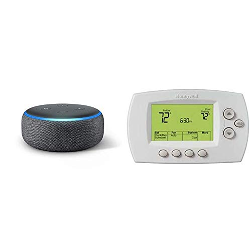 Echo Dot (3rd Gen) - Charcoal Fabric bundle with Honeywell Wi-Fi 7-Day Programmable Thermostat (RTH6580WF), Requires C Wire, Works with Alexa