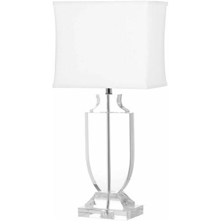 Table Lamps Set of 2 by Safavieh Features Deirdre Crystal Urn Lamp with CFL Bulb and Two Dimensional Base, Clear with Off-White Shade, Great Addition to your Home Decor