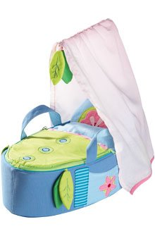 HABA Doll's Carry Cot with Canopy - Carry Bed Fits dolls up to 14