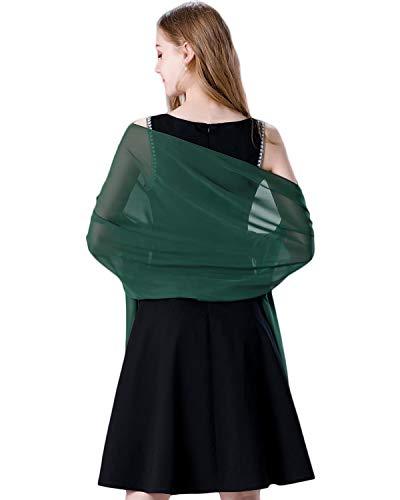 Green Chiffon Scarf - Soft Chiffon Scarve Shawls Wraps for Dresses Women Accessories Dark Green