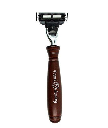 Rasierer für Gillette® Mach 3 Klingen von Frank Shaving, handgefertigter Holzgriff mit rosenholzfarbiger Lasur