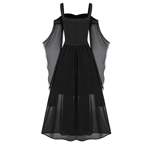 【US Stock】YLLQXI Womens Goth Dress Plus Size Cold Shoulder Tie Front Lace Sleeve Halloween Dresses Fashion Lace up Vintage Gothic Dresses