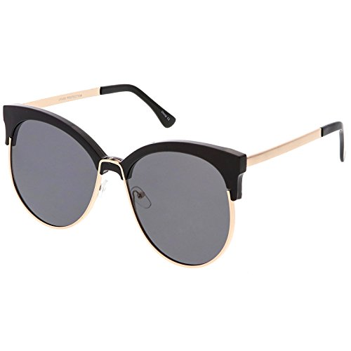 sunglassLA - Oversize Horn Rimmed Cat Eye Sunglasses Round Flat Lens Half Frame 61mm (Black Gold / - Peepers Jeepers Sunglasses