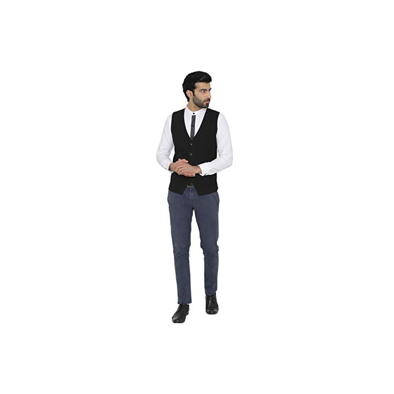 31qTqvcKAEL. SS768  - Raas Prêt Men Black Cotton Waistcoat