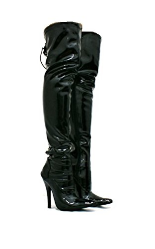 SKO'S Womens Ladies Fetish Kinky Stiletto Heel Sexy Thigh High Hook Lace UP Boots Size 3 4 5 6 7 8 Various Design Black KVJ98