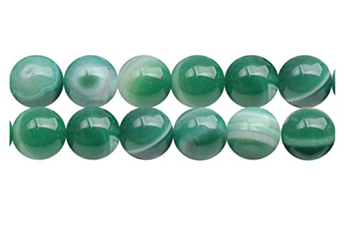 2 Strands x AAA Natural Green Stripe Agate Gemstone Loose Round Beads 6mm Spacer Beads (15.5