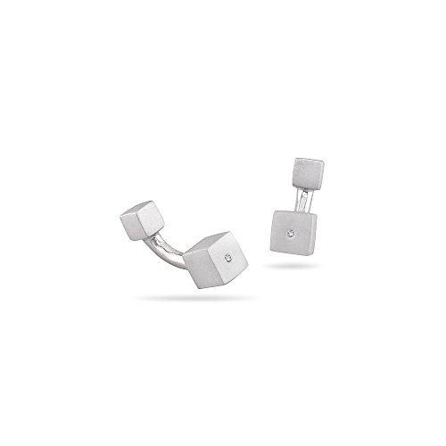Studs Galore 0.01-0.02 Cts SI2 - I1 clarity and I-J color Diamond Square Brushed Men's Cuff Link in Silver