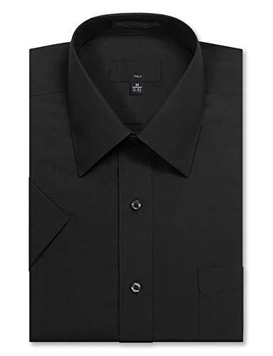 JD Apparel Men's Regular Fit Short Sleeve Dress Shirts 15-15.5N Medium Black