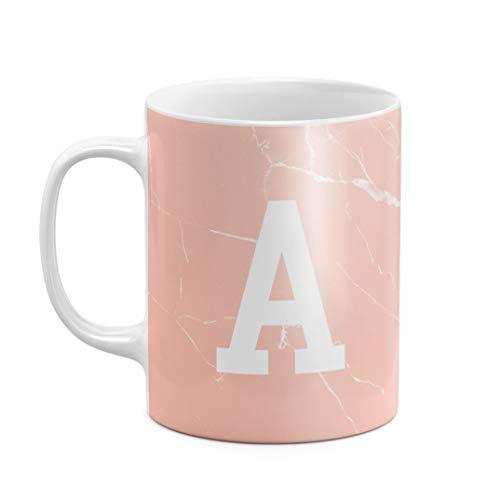 Personalised Customizable First And Last Name Initial Custom Cream Pink Marble Stone Print Heat Resistant White Ceramic 11 oz Coffee Tea Mug