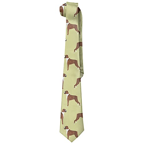 Boxer Dogs Mens Novelty Necktie Ties Silk Wide Ties Classic 100% Silk Tie - Boxer Necktie