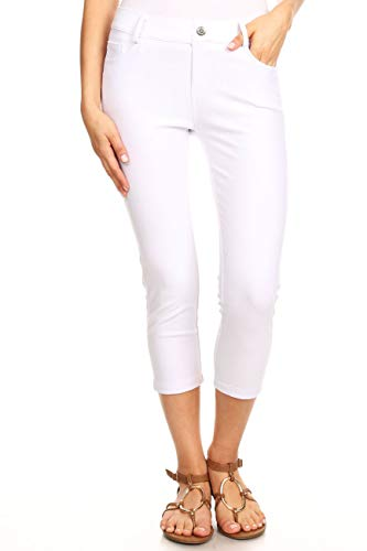 ICONOFLASH Women's White 5 Pocket Capri Jeggings - Pull On Skinny Stretch Colored Jean Leggings Size Small