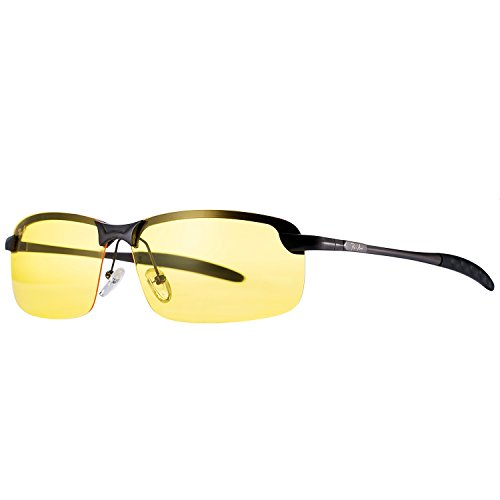 Pro Acme Rimless Polarized Night Vision Driving Glasses Goggles with Yellow Lens - Polarized Glasses Driving Night