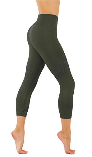 (CodeFit Yoga Power Flex Dry-Fit Latest Fade Dye Active Capri with Mesh Compression Pants Workout Leggings (XS USA 0-2, CFD25-Olive)