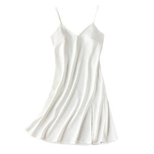 YOcheerful Women Lingeries Sexy Satin Sleepwear Babydoll Lingerie Nightdress Loose Camisole Pajamas (X-White, L)