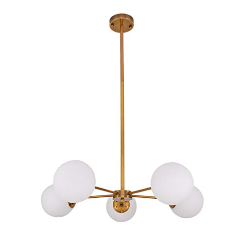 Islandse5-Light Chandelier Pendant Brushed Brass with White Frosted Globes (Photo Mirror Rod A)
