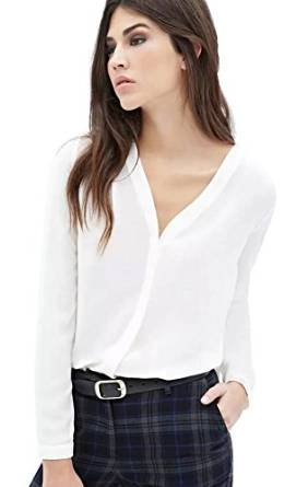 Womens V Neck Long Sleeve Ruffled Shoulder Solid Chiffon Blouse