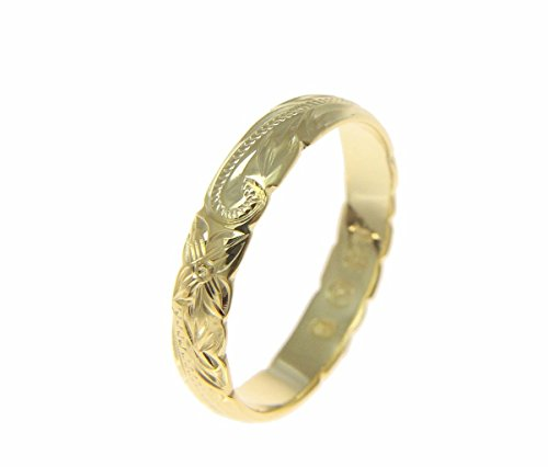 925 Sterling silver yellow gold plated 4mm Hawaiian scroll cut out edge ring band size 3.5
