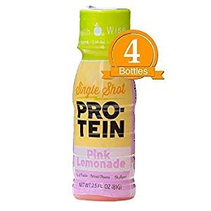 High Protein Shot- Pink Lemonade Low Calorie, Fat Free, Sugar Free (4-Pack Bottles) by Fit Wise