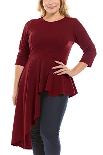 Bubble B Women's Plus Size Solid Asymmetrical Hem 3/4 Sleeves Top Burgundy ()