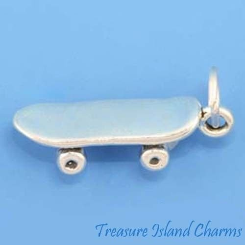 Skateboard Skate Board 3D 925 Solid Sterling Silver Charm Pendant Crafting Key Chain Bracelet Necklace Jewelry Accessories Pendants