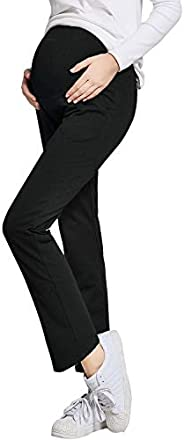 JOYNCLEON Womens Maternity Work Pants Straight Leg Pregnancy Casual Trousers Over Bump Fit Belly