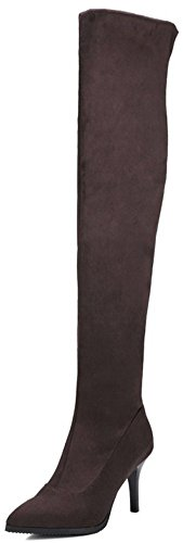 Easemax Women's Stylish Pointed Toe Mid Stiletto Heels Faux Suede Pull On Over Knee High Boots Brown