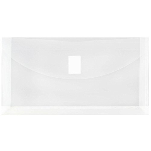 JAM PAPER Plastic Expansion Envelopes with Hook & Loop Closure - #10 Booklet Wallet - 5 1/4 x 10 with 1 Inch Expansion - Clear - 12/Pack