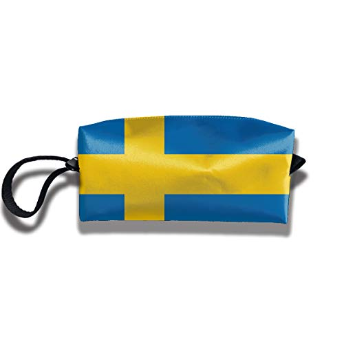 WASPA Large Capacity Pen Bag Pouch - Sweden Flag Toiletry Case Makeup Cosmetic Bag for Student & Adult