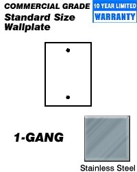 Leviton 84014-40 1-Gang, No Device Blank Wallplate, Standard Size, Box Mount, Stainless Steel - Rectangular Outlet