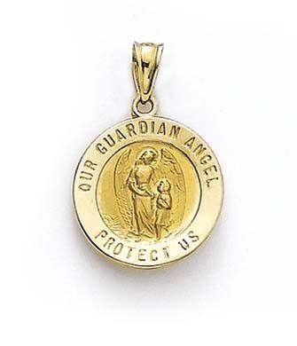 Ovale 14 Carats Pendentif Ange Gardien-JewelryWeb