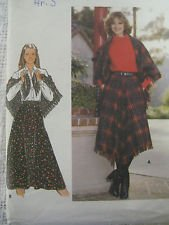 1970s Butterick Pattern 5619 Misses' Skirt & Shawl, Waist 28 - Vintage 70s Plaid
