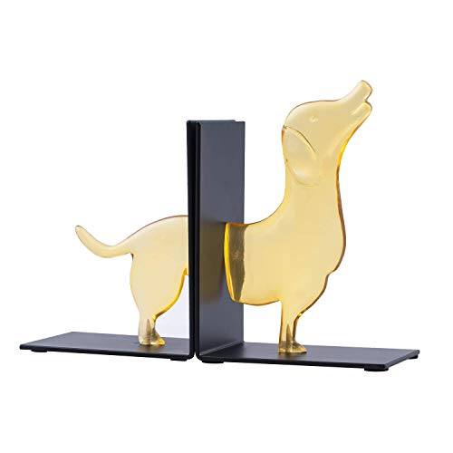 Bookend Decorative Animal Dog Lovely Resin Art Bookends with Nonskid Padded Base for Gift Kids Nursery Teenagers Room Home School Library Office Cafe Study Bookshelf, 1-Pair ()
