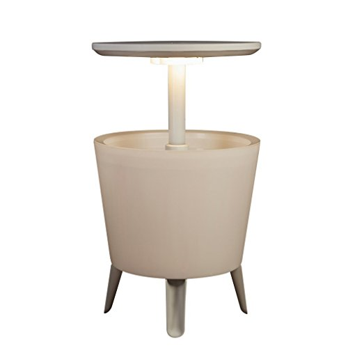Keter - Mesa nevera para jardin Cool Bar iluminado, Color blanco
